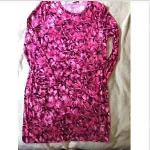 Michael Kors Pink Floral Jersey Knit Dress Large